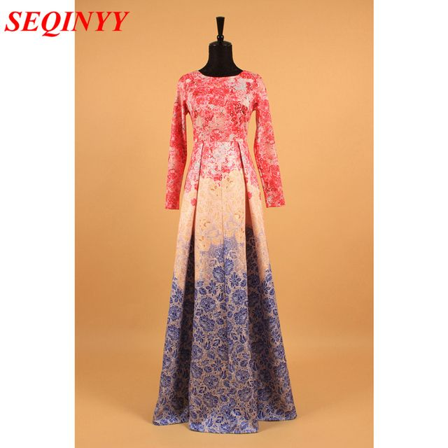 HIGH QUALITY New 2017 Daily Maxi Women's Long Sleeve Sweet Floral Printed Ball Gown Long Dress
