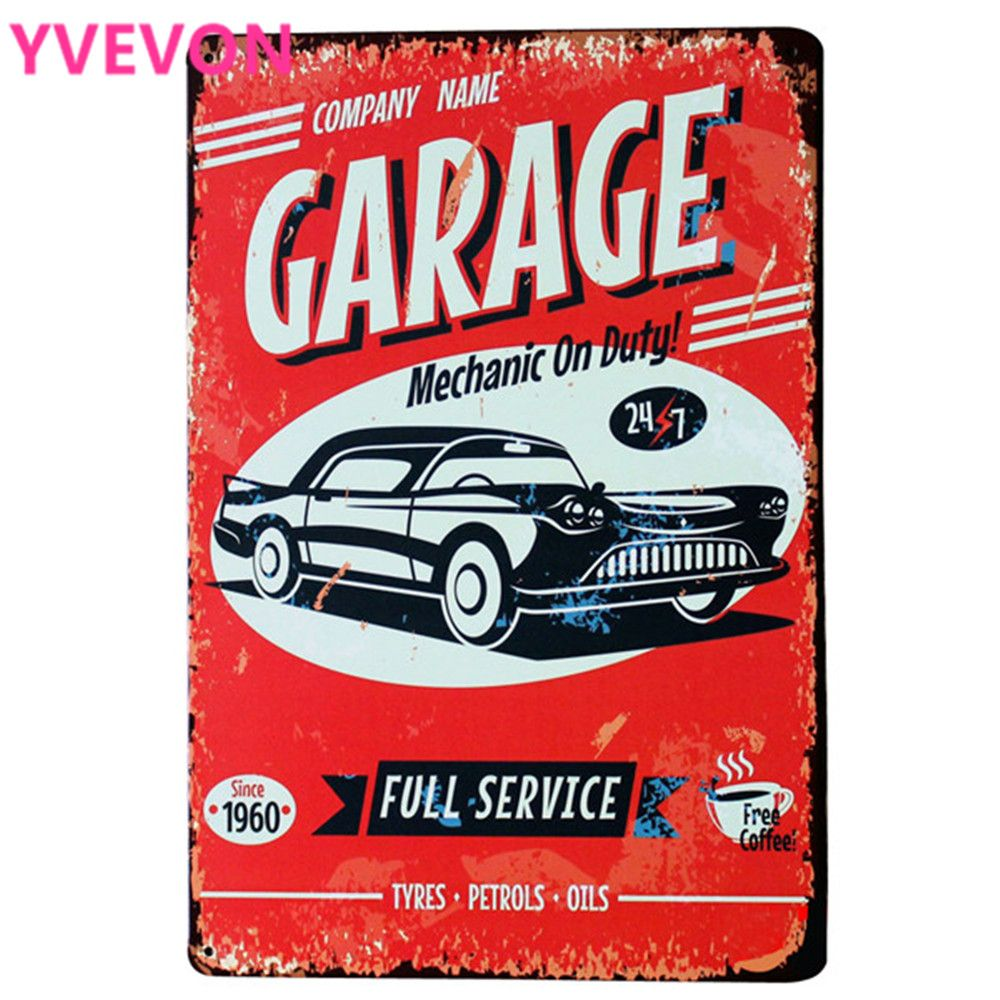 GARAGE MECHANIC Metal Tin Plaque Retro Car Sign Decor Plate Full Vehicle Service Repair Photo Cafe Bar Pub Show 20x30cm