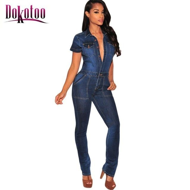 Dokotoo macacao feminino 2017 Dark Denim Button Down Jumpsuit LC64110 summer autumn body suits rompers overall women on sale
