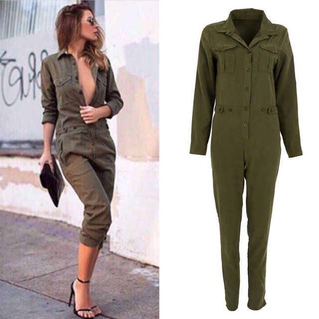 Women Jumpsuit Sexy Bodycon Party Lapel Long-sleeved Playsuit Trousers Stylish Army Green Rompers New