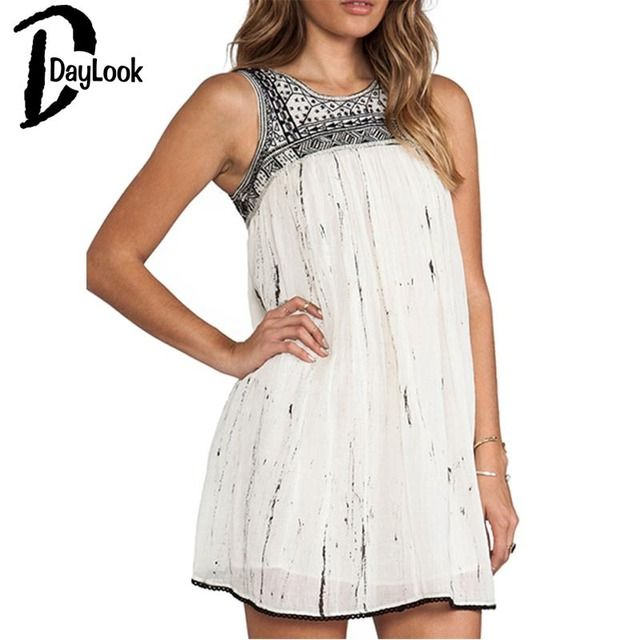 DayLook White Beaded Tribal Embroidery Cut Out Back Dress O Neck Backless Elegant Vintage Short Mini Sexy Shift Dress Vestidos