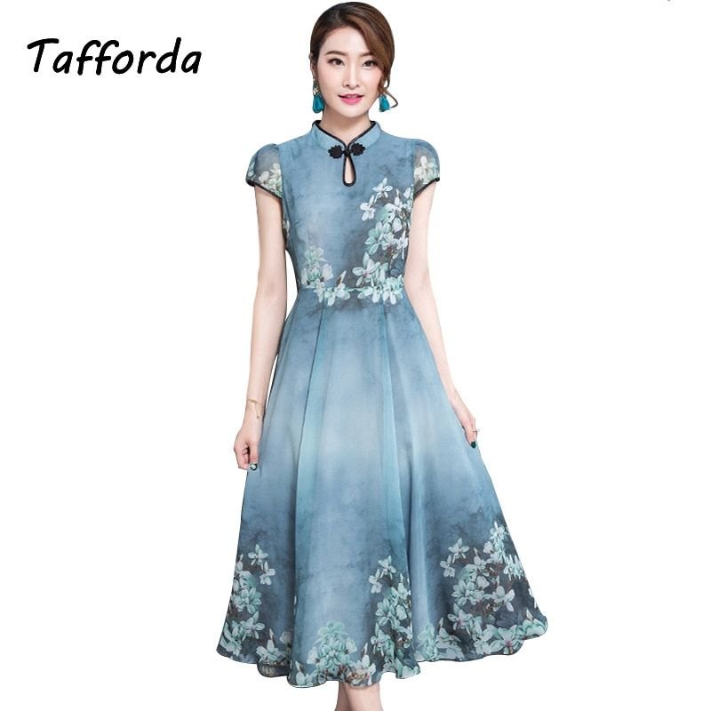 New 2017 Summer Look Slim Office 3XL Vintage Dresses for Women Cheongsam Stand Collar Waist-thinned Party Chiffon Dress Female