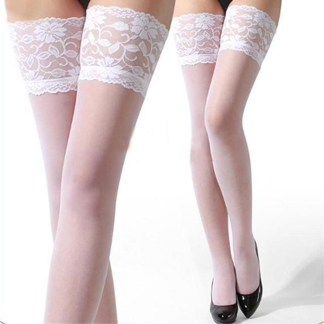 2017 Factory Price 1pair Fashion Sexy Ultrathin Lace Top Sheer Thigh High Silk Stockings Long black red white pink stocking
