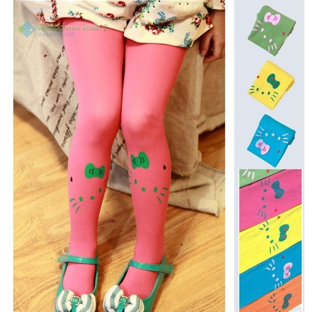 Toddler Baby girl children's kids pantyhose stocking velvet cute cartoon hello kitty tights for newborns child candy color 0-2Y