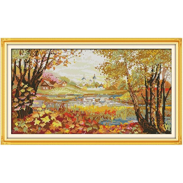 Beautiful View of Lake (2) Counted Cross Stitch 11CT 14CT Cross Stitch Set Wholesale Cross-stitch Kits Embroidery Needlework