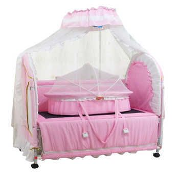 Cool for ban y fashion quality fabric iron baby bed with small cradle slammed lengthen pink
