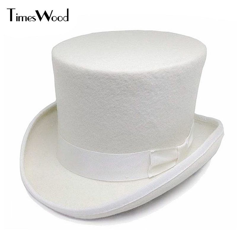13.5cm Height White Wool Top Hats Mens Women Chapeau Fedora Magician Felt Party Church Caps Fedoras Vintage Apka Dropshipping