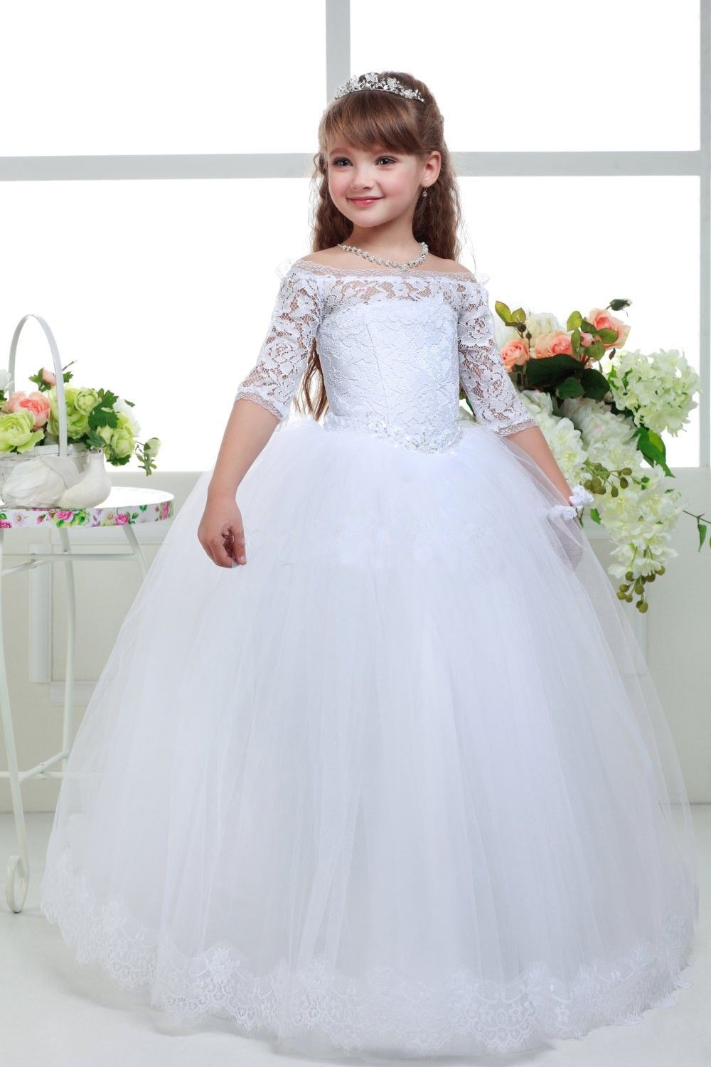 New Long Lace Ball Gown First Communion Dresses For Girls 2016 A-line High Collar Flower Girl Dresses kids prom evening gowns