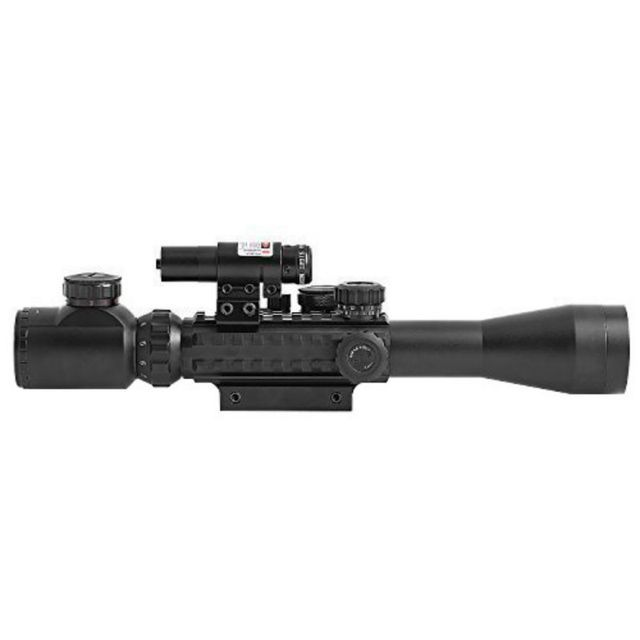 Outdoor Tactical Hunting Rifle Scope 3-9x40mm Illuminated Red Laser and Red Dot Sight of Red / Green Reticle Mount