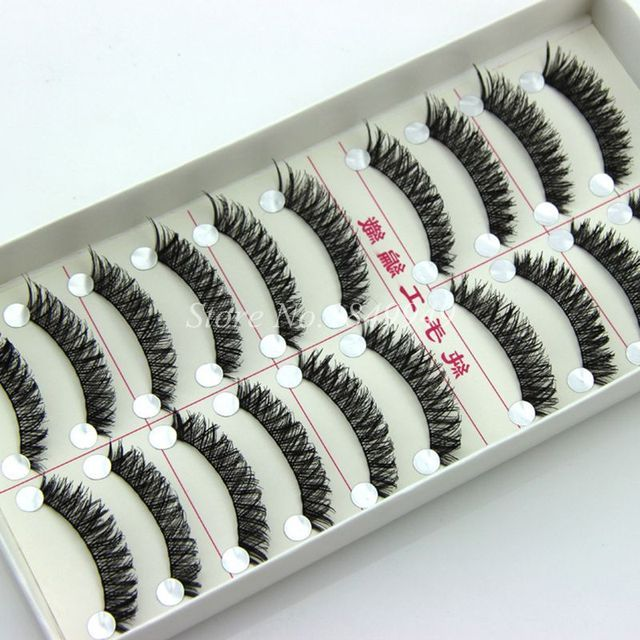 10 Pairs Natural False Eyelashes Crisscross Messy Soft Fake Eyelashes 100% Handmade Cotton Stems Fashion Makeup Stage Lashes
