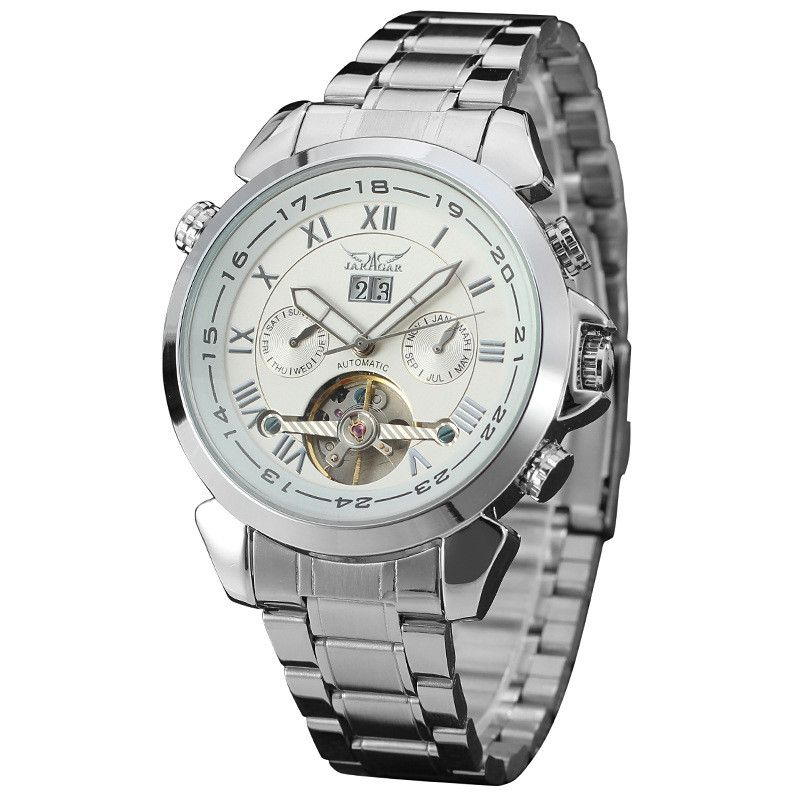 JARAGAR Tourbillon Hollow Automatic Wristwatch Casual Stainless Steel Mechanical Watch Relogio Masculino
