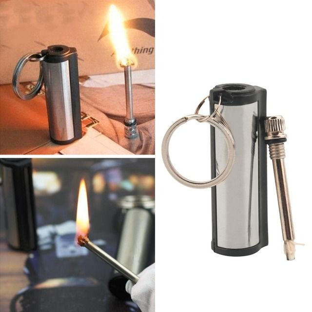 1 pc 2017 New Stainless Steel Permanent Survival Camping Emergency Fire Starter Flint Match Lighter With KeyChain Free Shipping