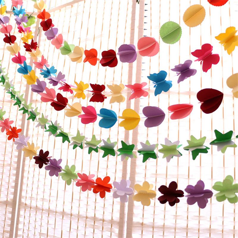 Hanging paper flowers Christmas artificial flowers garland birthday wedding flowers decorative flowers & wreaths baby shower
