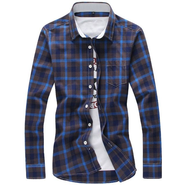 2019 Plaid Shirts Men M-5XL Red Cool Design Full Length Quality Spring Autumn Dress Shirts Camisa Masculina Plus Size Men Shirt