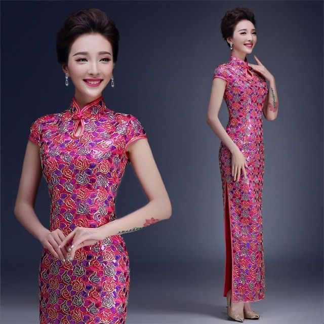 New Arrival Pink Chinese Lady Brocade Long Cheongsam Qipao Bridesmaid Evening Dress/Qipao Size S M L XL XXL QS15
