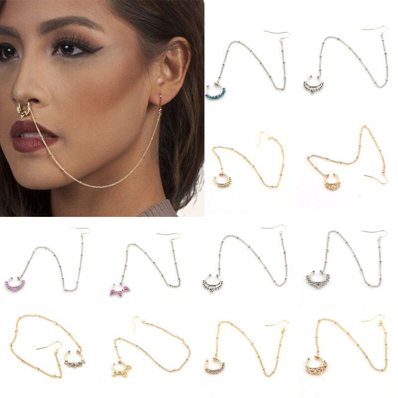 Onnea New Nose Rings and Studs Fake Piercing Summer Style Crystal Nose Hoop Fake Nose Rings&Studs Ear Chain Women Body Jewelry