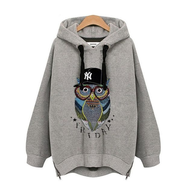 New Fashion Womens Casual Hooded Sweatshirt Owls Pattern Pullover Velvet Hoodie Coat Outerwear Tops Plus Size Women's Tracksuits