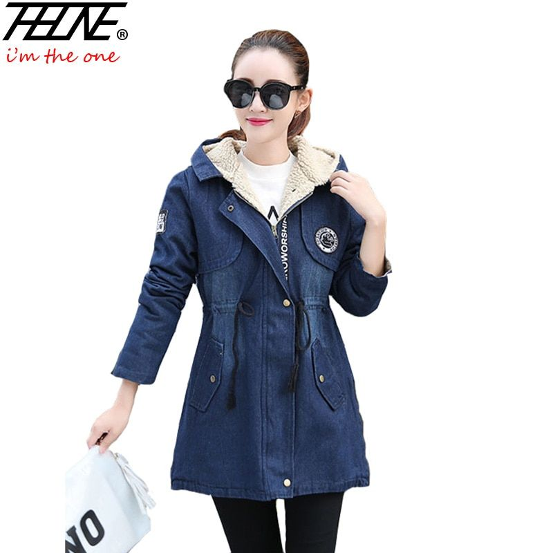 2017 Denim Coat Women Winter Jacket Jeans Long Fleece Fashion Letter Zipper Design Slim Overcoat Outwear Winter Parka Female