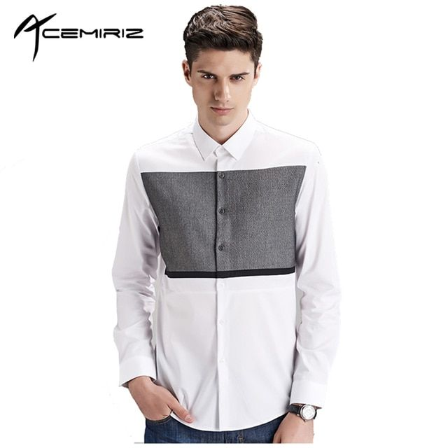 Black White Stitching Mens Shirt Good Quality Wedding Fashion Generous Concise Spring Autumn Men Patchwork Dress Shirts HT-1877