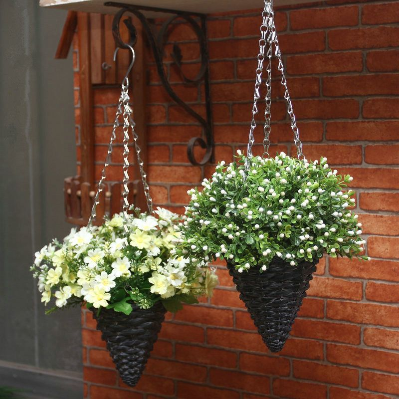 1 Set Artificial Flowers with Willow Basket Hanging Fake Plants Bonsai Plastic Flower for Home Decoration 0430