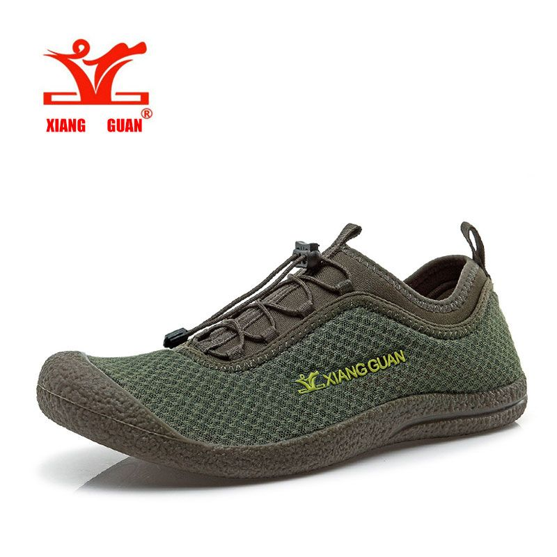 XIANGGUAN Upstream Shoes Men Beach Aqua Mesh Breathable Trainer Water Sport Boat Wading Shoe Outdoor Walking Sneaker For Man
