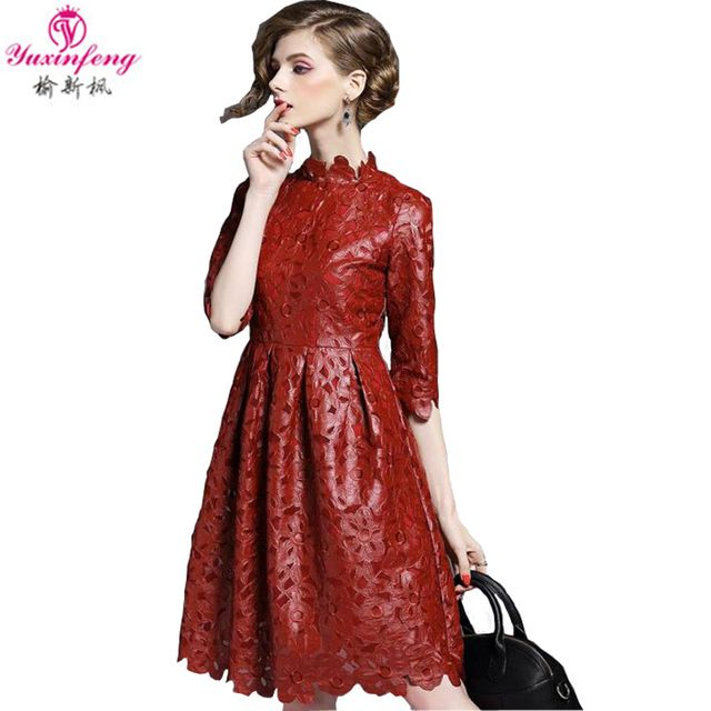 2017 Spring New European Women's Flower Collar Pu Leather Dresses Embroidery Stitching Beautiful Pu Leather Dress Faux Leather