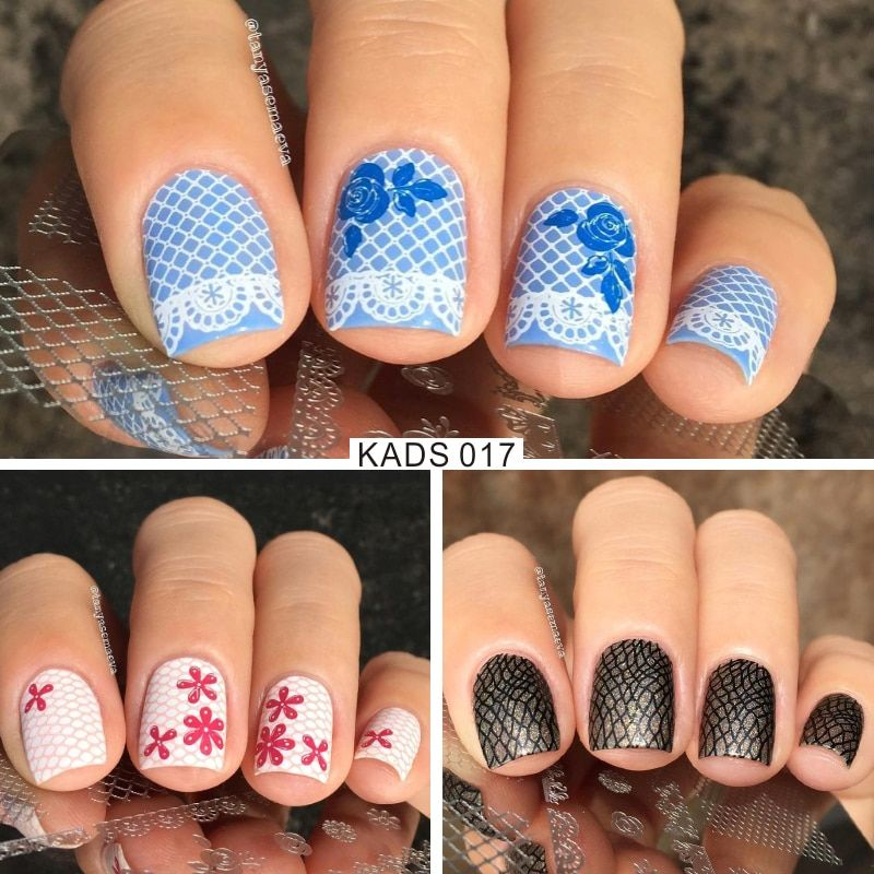 KADS New Fashion Gorgeous Lace&Flowers Design Nail Print Stamp Plates Nail Art Template Beauty Manicure Stencil DIY Polish Tool