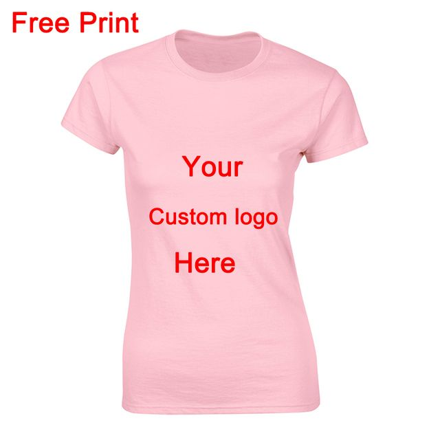 Top Quality Custom Women T Shirt Slim Fit O- Neck Shirt Cotton T-Shirt Short Sleeve Women Personalize Print Logo  Free Shipping
