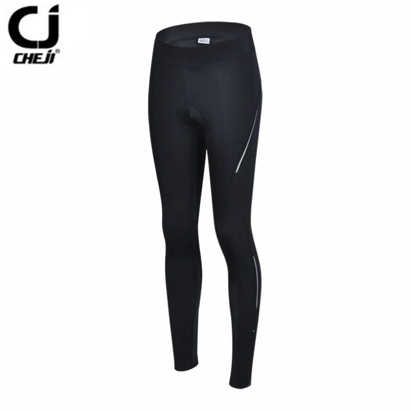 CHEJI Women Pro Bike pants Black Sports MTB Cycling Gel 3D Padded Pants Tight Size Bicycle long clothing Girl Cycling wear Short