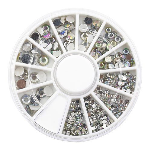Hot Sale 5 Sizes White Multicolor Acrylic Nail Art Decoration Glitter Rhinestones Stickers