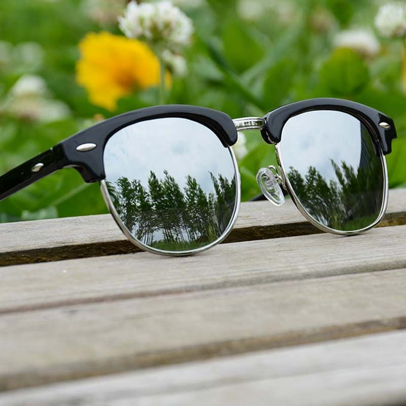 women sunglasses polarized men Lady retro sunglasses blue gray silver brown sunglass Semi Rimless Rice Nails
