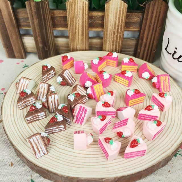 10 Piece Resin Flatback Flat Back Cabochon Kawaii DIY Resin Craft Decoration Miniature Fake 3 Layer Strawberry Cake Food:15mm