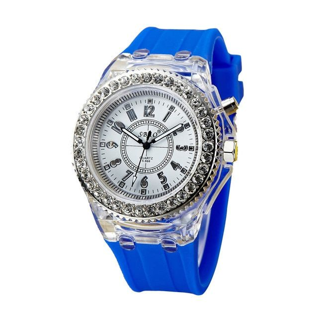 Fashion Silicone Diamond Watch LED Luminous Colorful Lights Women Ladies Watch