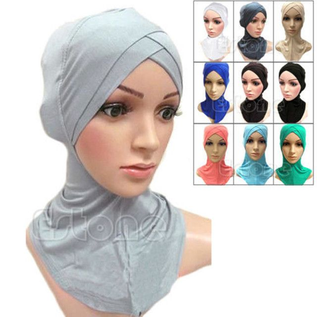 Women Muslim Mercerized Cross Scarf Full Cover Inner Cotton Hijab Cap Islamic Head Wear Hat Headband Colors Cotton Four-layer