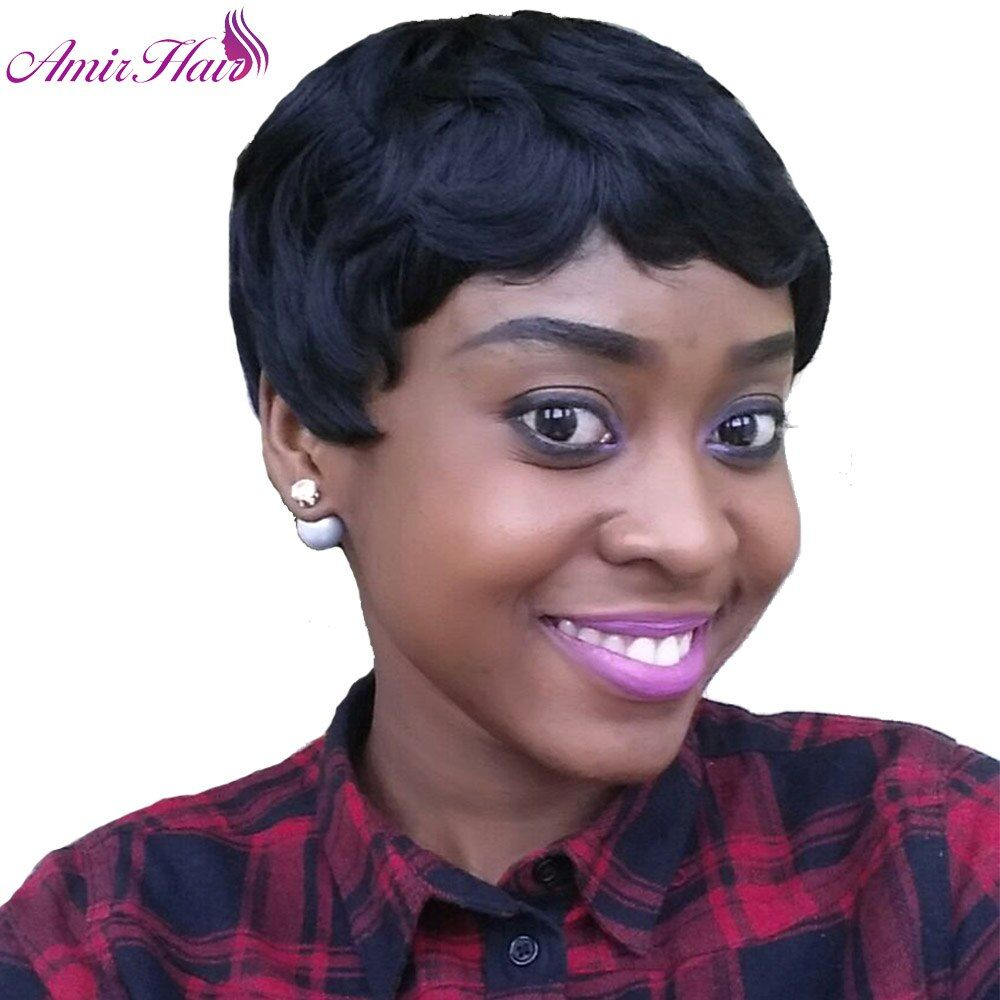 Amir Hair Synthetic Wig for Black Woman Natural Black straight Short African American Bob Wigs with Bangs Cosplay