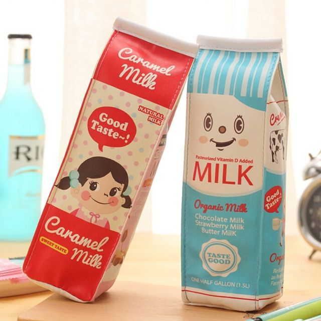 1 Pcs Creative Simulation Milk Box Pencil Bags For Kids Gift Cute Stationery Storage Organizer School Office Supplies