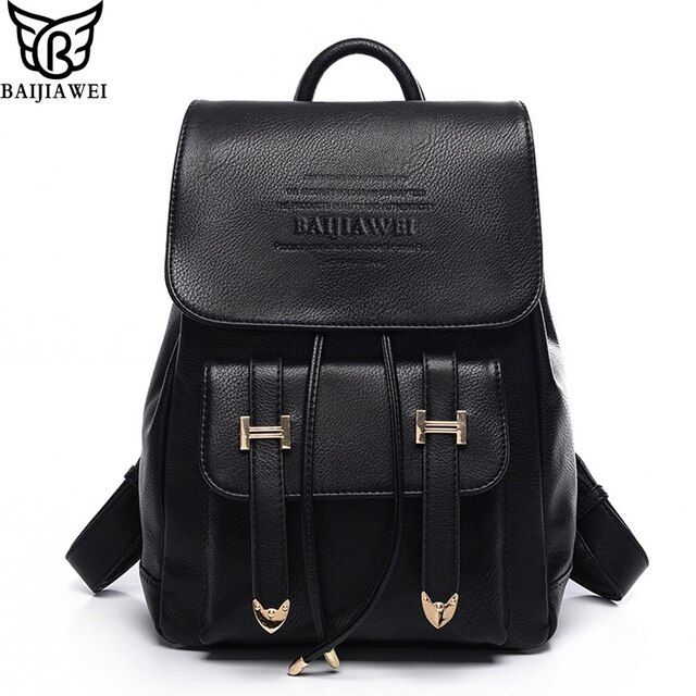 BAIJIAWEI Brand Design Backpack Women Advanced PU Leather Backpacks Casual&Travel Bags Mochilas Feminina Teenagers Backpacks