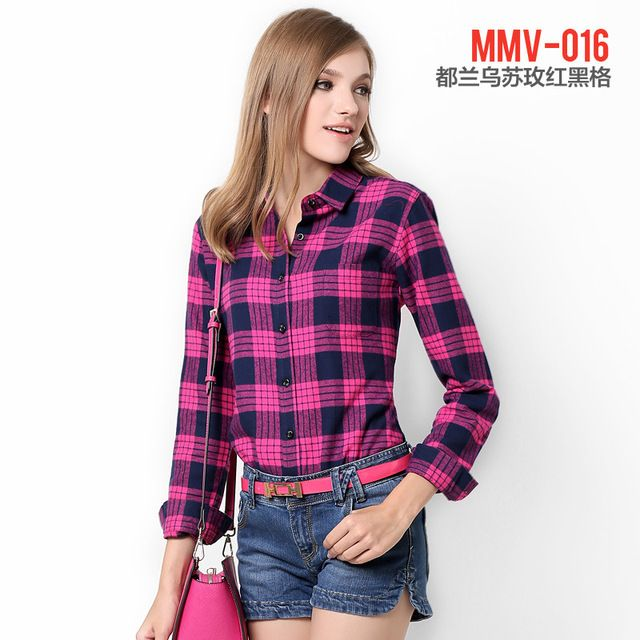 Women's fashion Brands design plaid shirt dress casual long-sleeved shirt Spring XS - XL Women's 2016 plaid shirt blouse shirt
