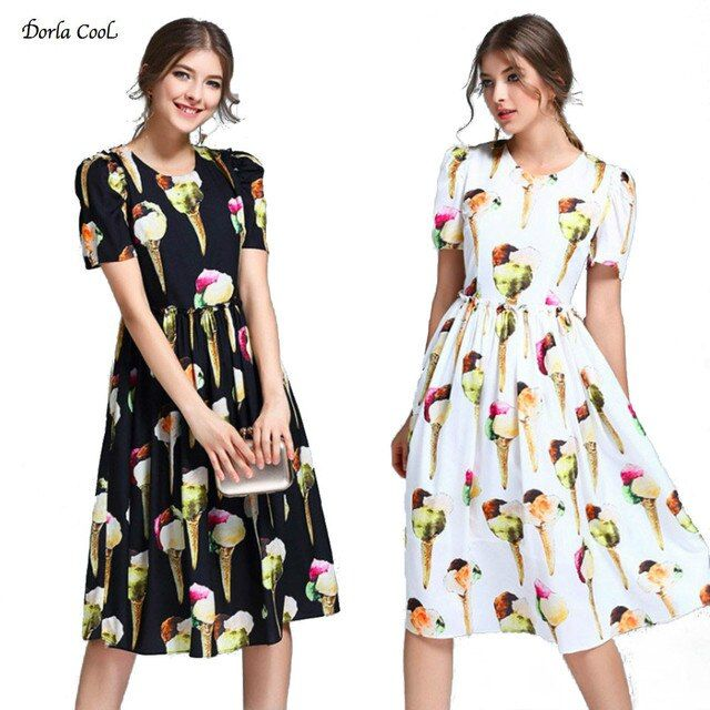 Dorla Cool Fashion Women's Silk Dress A-line 2017 Summer Ice Cream Printed O-neck Buttons Runway Feminine Dresses High Quality