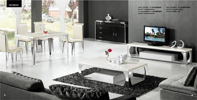 Modern White Marble and Stainless Steel 3 Piece Furniture Set, Coffee Table,TV Cabinet and Dinning Table Set On Sale YQ126