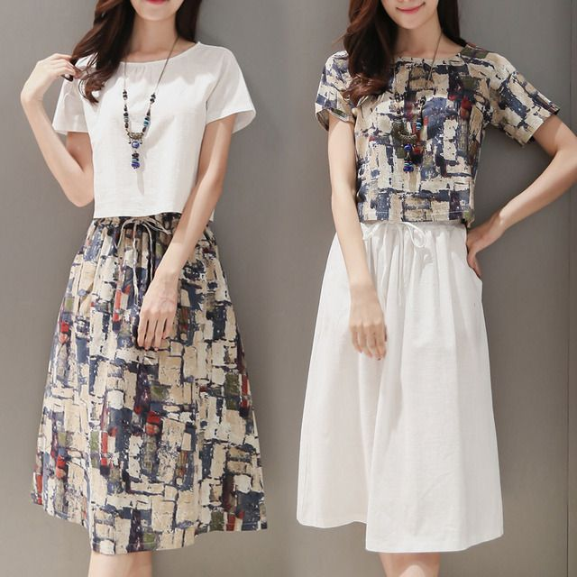 New Arrivals 2 Piece Set Women 2016 Europe Fashion White Shirt+Printing Skirt Womens Suit Casual Slim Women Clothing Set 7943