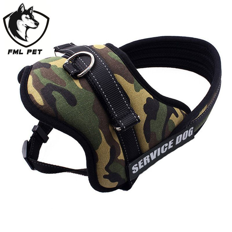 FML Pet Large Dog Harness Vest Pet Products Comfortable  Net Cloth Camouflage 4Colors Pet Harness Professional Dog Chest Straps