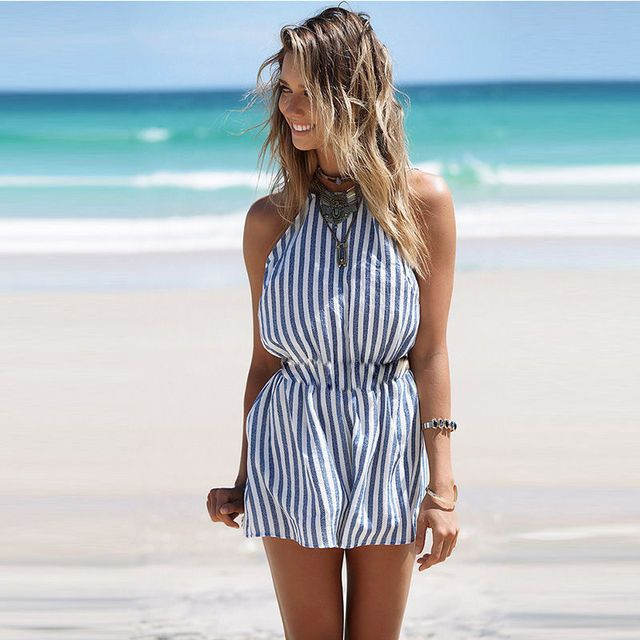 Women Sexy Striped Jumpsuit Romper Short Trousers Bodycon Clubwear Beach Playsuit