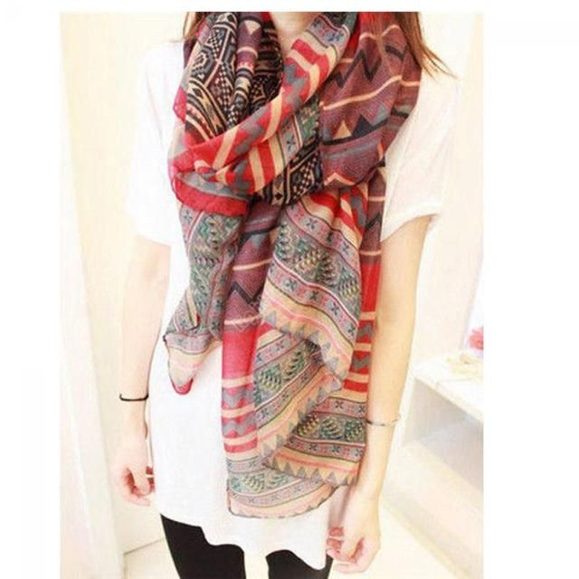 165cm * 85cm Fashion 1 PCS Women Scarf Red Vintage Lady Long Soft Cotton Voile Print Scarves Warp shawl female bufanda mujer