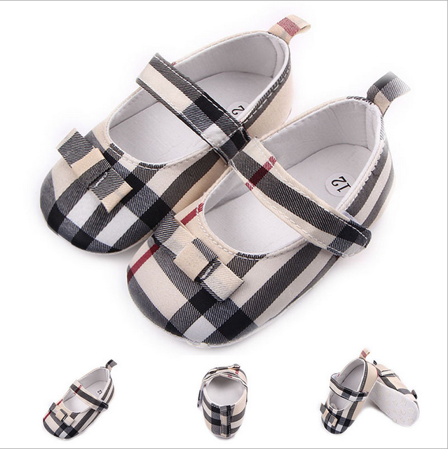 Children Kids Girls Grid Bowknot Shoes Non-Slip First Walkers Bebes Zapatos Ninas Newborn Infantil Flag Brand Baby Toddlers