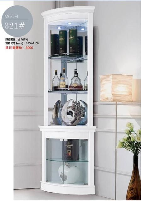 321# Living room furniture round corner white display showcase wine cabinet living room cabinet corner cabinet