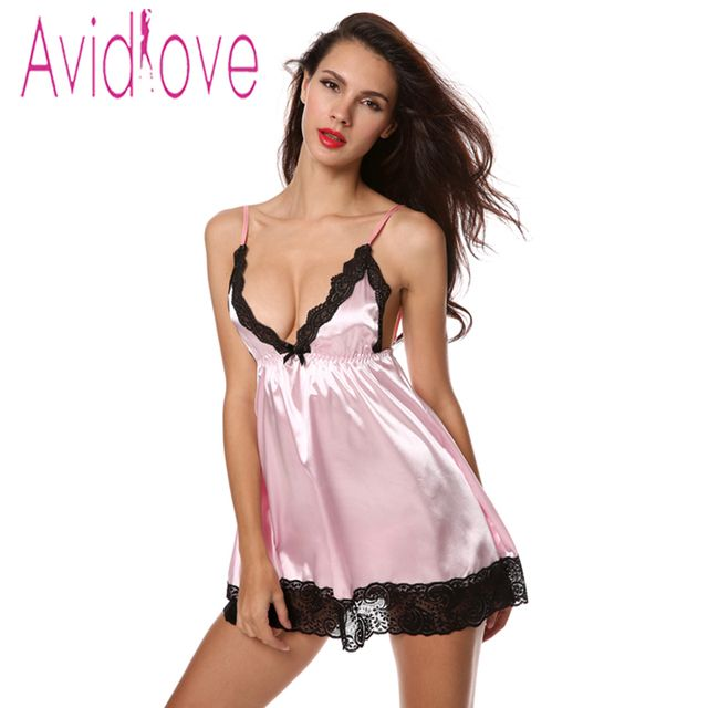 Avildlove Stylish Summer Nightdress Women's Sexy Nightwear Set Sexy Strap Sleepwear V-Neck Nightgown Dress Plus Size + G-string