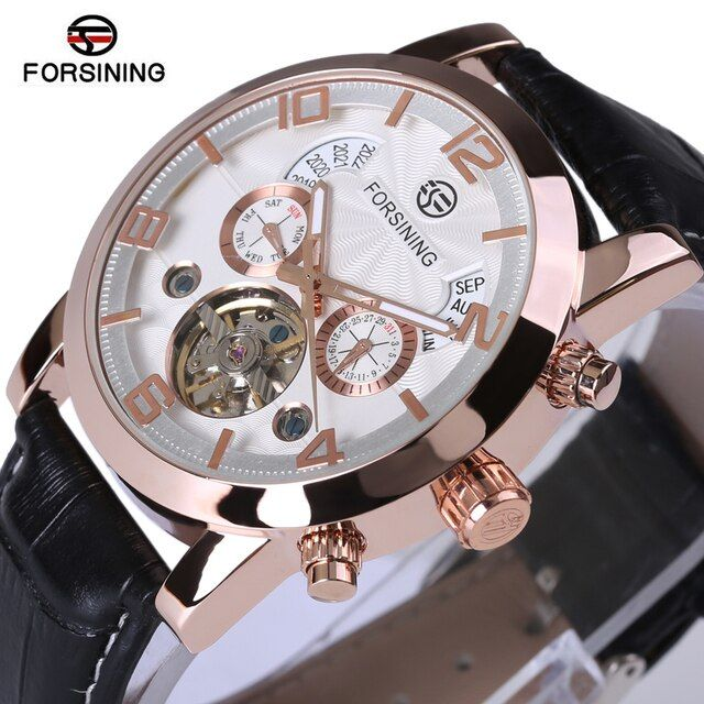 2018 Automatic Watches Rose Gold Case Black Leather Strap White Dial Date Day Year Month Display Men Casual Mechanical Watch