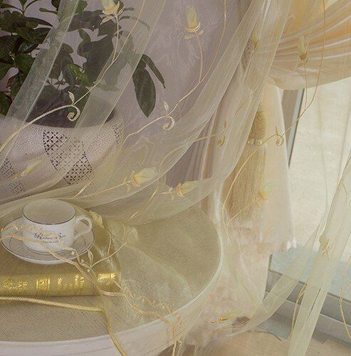 NAPEARL Window screening customize embroidered fabric organza tulle finished curtain