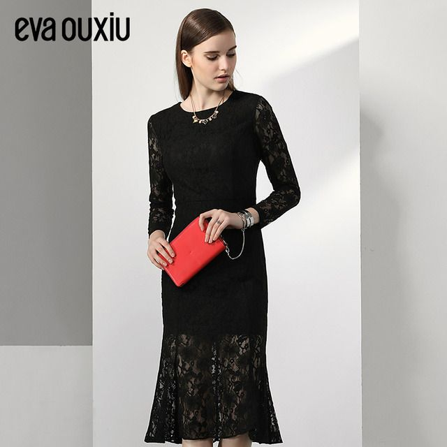 Evaouxiu New Vintage One-piece Slim  Lace Dress Mid-calf Long Sleeve O-neck Dress Black Free Shipping